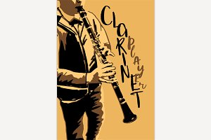 The boy playing clarinet poster