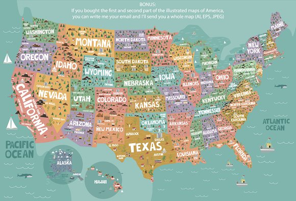 Whole Map Of The World.20 States Of America Illustrated Map