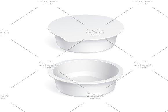 Slim White blank plastic container