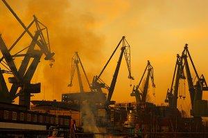 Cranes in shipyard in Gdansk, Poland
