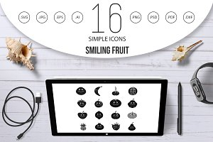Smiling fruit icons set, simple