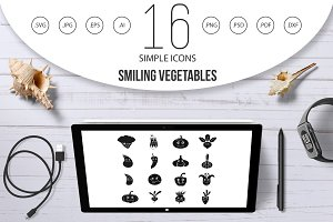 Smiling vegetables icons set, simple