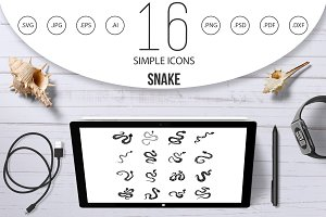 Snake icons set, simple style