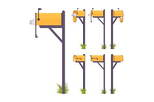 Yellow mailbox set