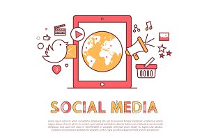 Social Media Poster and Text Vector