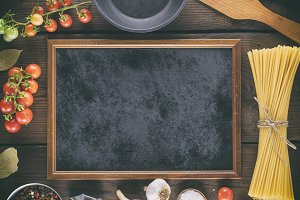 empty black frame and ingredients