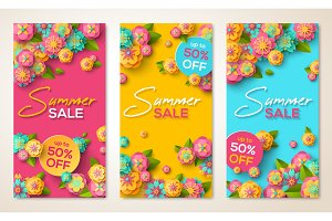 Summer sale vertical banners