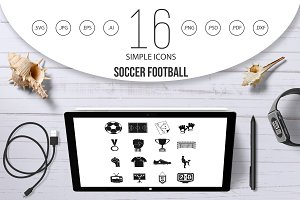 Soccer football icons set, simple