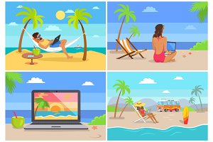 Seaside and Distant Work Set Vector