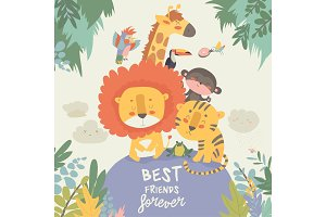 Happy jungle animals. Best friends