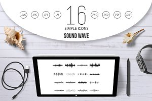 Sound wave icons set, simple style