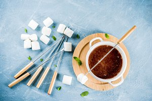 Chocolate fondue with marshmallow