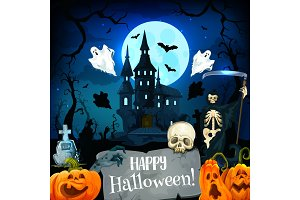 Halloween castle greeting card of