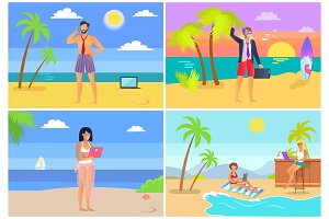 Distant Work Job Collection Vector