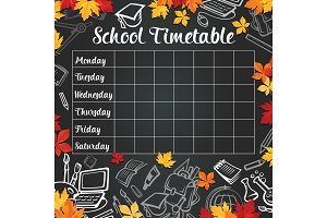 School vector weekly timetable on