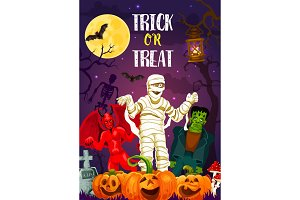 Halloween trick or treat banner of