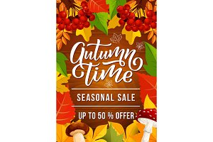 Autumn sale banner for fall season