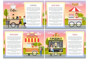 Pizza Popcorn Coffee and Hot Dog