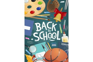 Back to school banner with education
