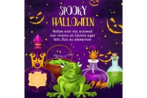 Halloween holiday greeting card with