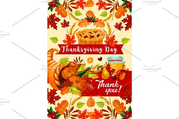 Thanksgiving Day autumn holiday in Illustrations