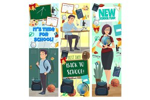 New School Year banners with studen