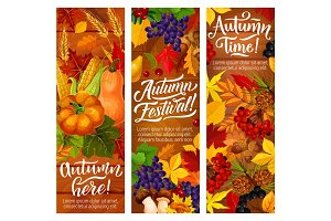 Autumn fallen leaves banners for