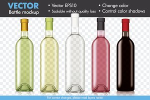 Vector Wine Bottle Mock-up Mockup