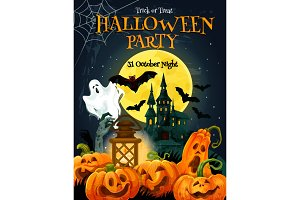 Halloween horror party poster for