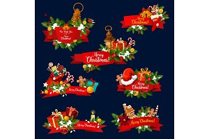 Christmas greeting ribbon banner of