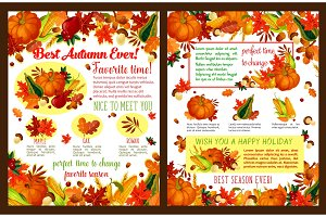 Autumn fall time wishes vector