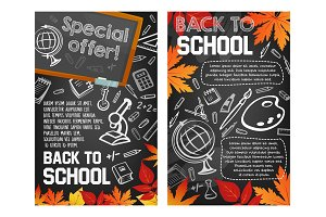 Back to School vector sale promo