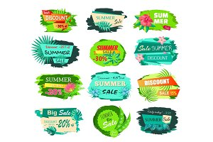 Set Promo Labels Tropical Flowers