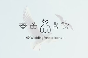 40 Outline Wedding Icons