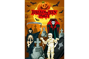 Halloween night party banner with