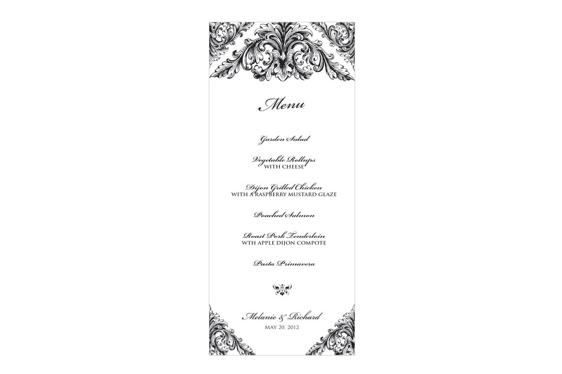 Renaissance Wedding Menu Stationery Templates Creative Market