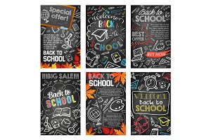 Back to school supplies sale banner