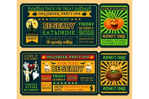 Halloween ticket template for horror
