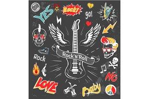 Rock-n-Roll Forever Badges Vector