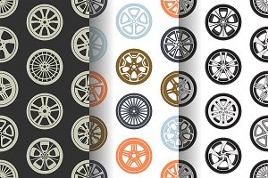 Seamless pattern with car wheels