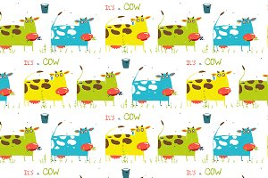 Brightly Colored Cow Milk Pattern