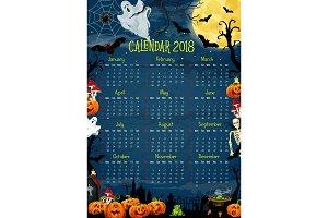 Calendar with Halloween holiday