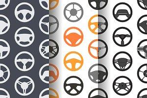 Pattern with car steering wheels