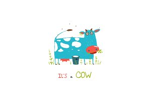 Brightly Colored Fun Cow and Milk