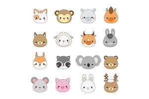 Cute animals faces icons