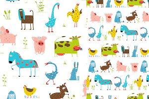 Cartoon Farm Animal Seamless Pattern