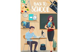Back to School poster with student