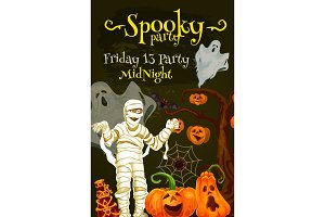 Halloween night party poster with