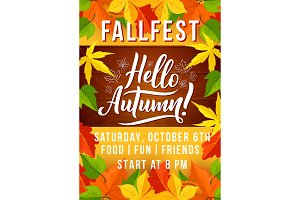 Autumn harvest fest invitation with