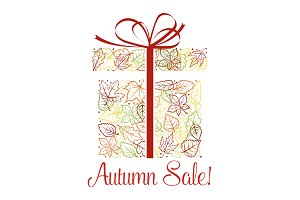 Autumn sale discount offer poster